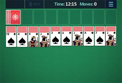 spider solitaire game setup